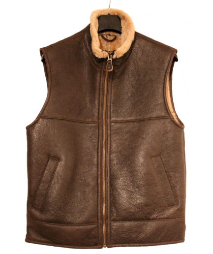 Men's Aviator B3 Ginger Shearling Sheepskin Gilet Leather Bomber Flying Jacket