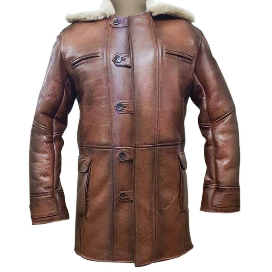 The Dark Knight Rises Tom Hardy Shearling Brown Ginger Real Leather Bane Coat