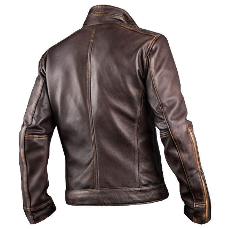 Men's Vintage Cafe Racer Biker Brown Distressed Leather Jacket