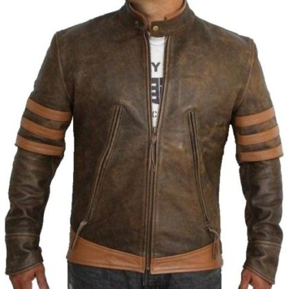 X-Men Distressed Brown Vintage Motorcycle Distressed Retro Biker Antique Jacket