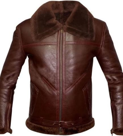 B3 Bomber Brown Shearling Real Leather Jacket