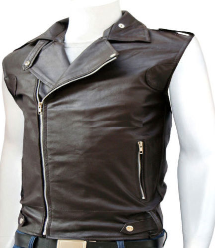 Men's Fashion Genuine Leather Slim Fit Quilted Bodas Vest Leather Biker Jacket