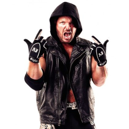 AJ Styles WWE Crocodile Black Leather Hoodie Vest Jacket
