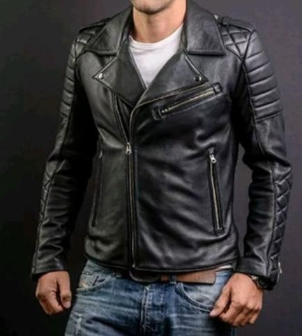 Men's Fashion Genuine Leather Slim Fit Quilted Bodas Leather Biker Jacket