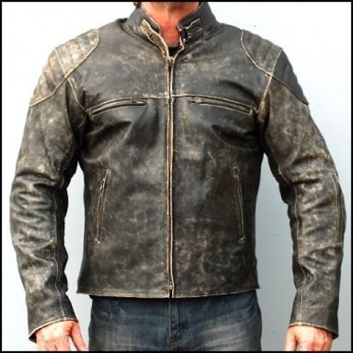 0636b51e636d Mens Antique Black Vintage Distressed Biker Leather Jacket – Mak Stitch