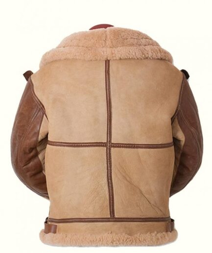 Men's Aviator USAF Real Sheepskin Shearling Batch Leather Bomber Flying Pilot Leather Jacket
